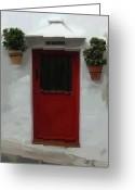 Red Door Greeting Cards - Village Cocina Greeting Card by Patti Siehien