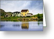Sea Cottage Greeting Cards - Village in Newfoundland Greeting Card by Elena Elisseeva