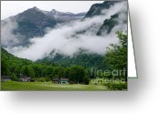 Small House Greeting Cards - Village in the alps Greeting Card by Mats Silvan