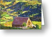 Landscape Posters Painting Greeting Cards - Village In The Valley Greeting Card by David Lloyd Glover