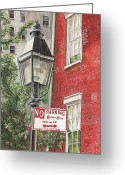Parking Greeting Cards - Village Lamplight Greeting Card by Debbie DeWitt