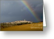 Rainbows Greeting Cards - Village of Montpeyroux. Auvergne. France Greeting Card by Bernard Jaubert