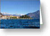 Lake Como Greeting Cards - Village on the lake front Greeting Card by Mats Silvan