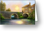 Evening Scenes Digital Art Greeting Cards - Village on the River Greeting Card by Sena Wilson
