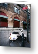 New York New York Com Greeting Cards - Village Scooter Greeting Card by John Rizzuto