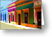 Street Scene Greeting Cards - Village Streetscape by Michael Fitzpatrick Greeting Card by Olden Mexico