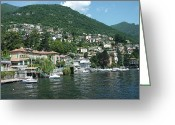 Lake Como Greeting Cards - Village View From Lake Como - Como, Italy Greeting Card by Heres2now.com
