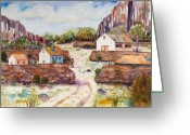Rock Walls Greeting Cards - Village Walls Greeting Card by Renee Chastant