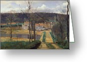 Pond Painting Greeting Cards - Ville dAvray Greeting Card by Jean Baptiste Camille Corot