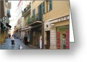 Store Fronts Greeting Cards - Villefranche Street Scene Greeting Card by Barbara Saccente