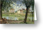 Riviere Greeting Cards - Villeneuve la Garenne Greeting Card by Alfred Sisley