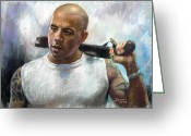 Guys Greeting Cards - Vin Diesel Greeting Card by Ylli Haruni