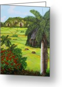 Cuban Painter Greeting Cards - Vinales Valley Greeting Card by Dominica Alcantara