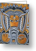 Lord Ganesha Drawing Greeting Cards - Vinayaka Greeting Card by Paritosh Pal