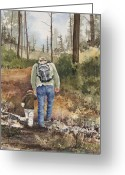Woods Painting Greeting Cards - Vince and Sam Greeting Card by Sam Sidders