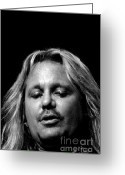 Tommy Lee Greeting Cards - Vince Close Up BW Greeting Card by Christopher  Chouinard