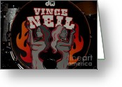 Tommy Lee Greeting Cards - Vince Drum Logo Greeting Card by Christopher  Chouinard