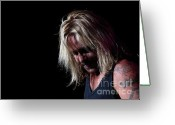 Tommy Lee Greeting Cards - Vince Neil in Thought Greeting Card by Christopher  Chouinard