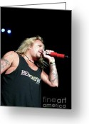 Tommy Lee Greeting Cards - Vince Neil Mikes Up Greeting Card by Christopher  Chouinard