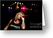 Tommy Lee Greeting Cards - Vince Neil Sings Greeting Card by Christopher  Chouinard