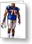 Espn Drawings Greeting Cards - Vince Wilfork Greeting Card by Dave Olsen