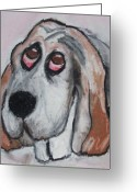 Dogs Pastels Greeting Cards - Vincent the Dog Greeting Card by Janel Bragg