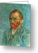 Portrait Artist Photo Greeting Cards - Vincent Van Gogh (1853-1890) Greeting Card by Granger
