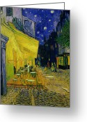 Oil On Canvas Painting Greeting Cards - Vincent van Gogh Greeting Card by Cafe Terrace Arles