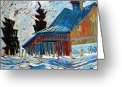 Pull Greeting Cards - Vincents Barn Greeting Card by Charlie Spear