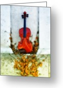 Violin Digital Art Greeting Cards - Vines and Violin Greeting Card by Bill Cannon