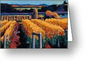 Trumpet Glass Greeting Cards - Vineyard Light Greeting Card by Christopher Mize