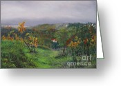 Autumn Landscape Pastels Greeting Cards - Vineyard Path Greeting Card by Leah Wiedemer