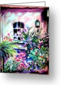 Stone Pastels Greeting Cards - Vineyard Patio Greeting Card by Sandy Ryan