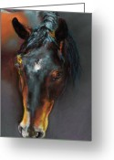 Horse Drawings Greeting Cards - Vinnie Mustang Love Greeting Card by Frances Marino