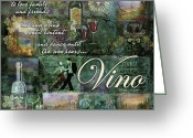 Wine Bottle Greeting Cards - Vino Greeting Card by Evie Cook