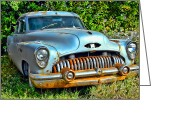 Rust Greeting Cards - Vintage American Car in Yard Greeting Card by Olivier Le Queinec