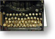 Typewriter Keys Photo Greeting Cards - Vintage Antique Typewriter - Text Me Greeting Card by Kathy Fornal