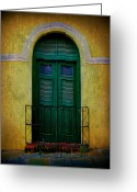 Puerto Rico Greeting Cards - Vintage Arched Door Greeting Card by Perry Webster