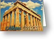 Parthenon Greeting Cards - Vintage Athens Greece Parthenon Greeting Card by Vintage Poster Designs