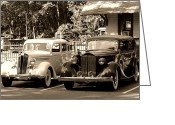 Antique Automobile Greeting Cards - Vintage Automobiles at a Train Station Greeting Card by Olivier Le Queinec