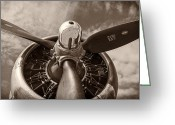 Sepia Toned Greeting Cards - Vintage B-17 Greeting Card by Adam Romanowicz