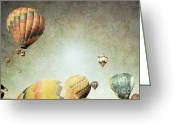 Winter Photos Greeting Cards - Vintage Balloon Flight Greeting Card by Andrea Hazel Ihlefeld