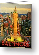 Maryland Greeting Cards - Vintage Baltimore At Dusk Greeting Card by Vintage Poster Designs