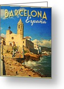 Espana Greeting Cards - Vintage Barcelona Espana Greeting Card by Vintage Poster Designs