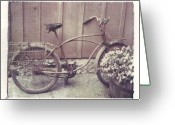 Old Bike Greeting Cards - Vintage Bicycle Greeting Card by Jane Linders