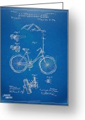 Tour De France Greeting Cards - Vintage Bicycle Parasol Patent Artwork 1896 Greeting Card by Nikki Marie Smith