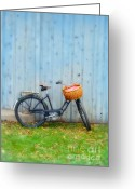 Resting Greeting Cards - Vintage Bicycle with Basket Greeting Card by Jill Battaglia