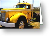 Old Trucks  Greeting Cards - Vintage Big Rig . 7D15483 Greeting Card by Wingsdomain Art and Photography