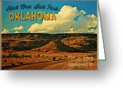 Black Mesa Greeting Cards - Vintage Black Mesa Oklahoma Greeting Card by Vintage Poster Designs