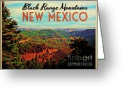 Mountains New Mexico Greeting Cards - Vintage Black Range New Mexico Greeting Card by Vintage Poster Designs